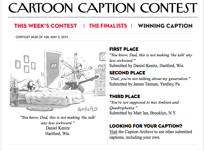 new yorker cartoon contest contestants with me