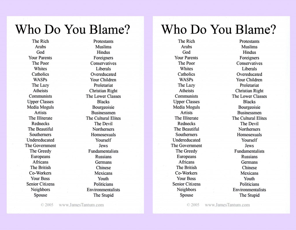 Who do you Blame postcard